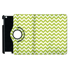 Spring Green And White Zigzag Pattern Apple iPad 3/4 Flip 360 Case