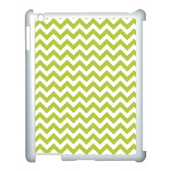 Spring Green And White Zigzag Pattern Apple iPad 3/4 Case (White)