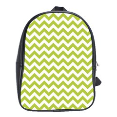 Spring Green And White Zigzag Pattern School Bag (XL)