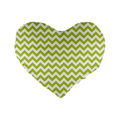 Spring Green And White Zigzag Pattern 16  Premium Heart Shape Cushion