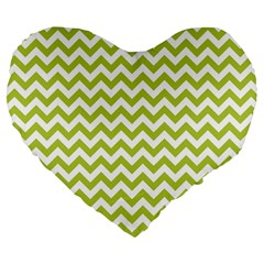 Spring Green And White Zigzag Pattern 19  Premium Heart Shape Cushion