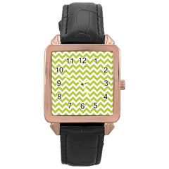 Spring Green And White Zigzag Pattern Rose Gold Leather Watch