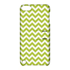 Spring Green And White Zigzag Pattern Apple Ipod Touch 5 Hardshell Case With Stand