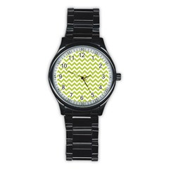 Spring Green And White Zigzag Pattern Sport Metal Watch (Black)