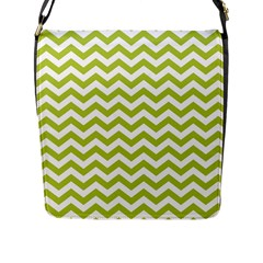 Spring Green And White Zigzag Pattern Flap Closure Messenger Bag (Large)
