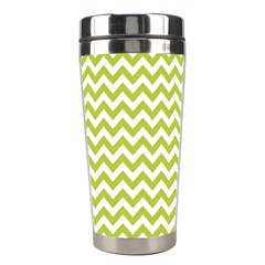 Spring Green And White Zigzag Pattern Stainless Steel Travel Tumbler