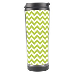 Spring Green And White Zigzag Pattern Travel Tumbler