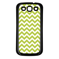 Spring Green And White Zigzag Pattern Samsung Galaxy S3 Back Case (Black)