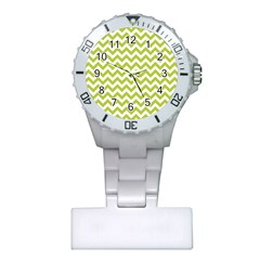 Spring Green And White Zigzag Pattern Nurses Watch