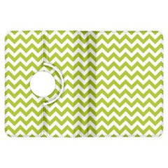 Spring Green And White Zigzag Pattern Kindle Fire HDX 7  Flip 360 Case