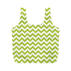 Spring Green And White Zigzag Pattern Reusable Bag (M)