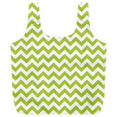 Spring Green And White Zigzag Pattern Reusable Bag (xl)