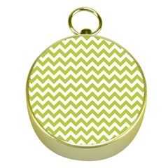 Spring Green And White Zigzag Pattern Gold Compass
