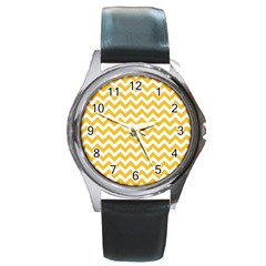 Sunny Yellow And White Zigzag Pattern Round Leather Watch (Silver Rim)