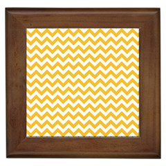 Sunny Yellow And White Zigzag Pattern Framed Ceramic Tile