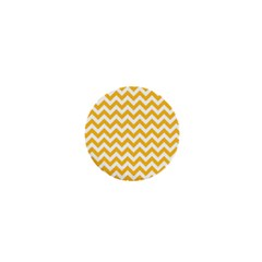 Sunny Yellow And White Zigzag Pattern 1  Mini Button Magnet