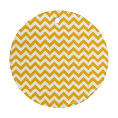 Sunny Yellow And White Zigzag Pattern Round Ornament