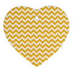 Sunny Yellow And White Zigzag Pattern Heart Ornament