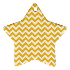 Sunny Yellow And White Zigzag Pattern Star Ornament