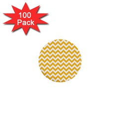 Sunny Yellow And White Zigzag Pattern 1  Mini Button (100 pack)