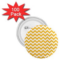 Sunny Yellow And White Zigzag Pattern 1.75  Button (100 pack)