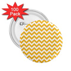 Sunny Yellow And White Zigzag Pattern 2.25  Button (100 pack)