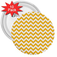 Sunny Yellow And White Zigzag Pattern 3  Button (10 pack)