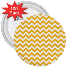Sunny Yellow And White Zigzag Pattern 3  Button (100 pack)