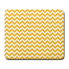 Sunny Yellow And White Zigzag Pattern Large Mouse Pad (rectangle)
