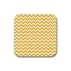 Sunny Yellow And White Zigzag Pattern Drink Coaster (Square)
