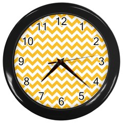 Sunny Yellow And White Zigzag Pattern Wall Clock (black)