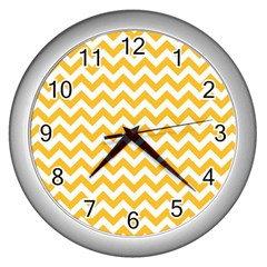Sunny Yellow And White Zigzag Pattern Wall Clock (Silver)