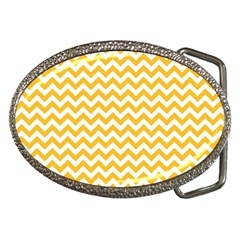 Sunny Yellow And White Zigzag Pattern Belt Buckle (Oval)