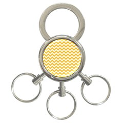 Sunny Yellow And White Zigzag Pattern 3-Ring Key Chain