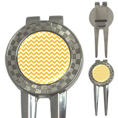 Sunny Yellow And White Zigzag Pattern Golf Pitchfork & Ball Marker