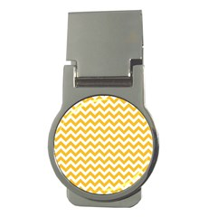 Sunny Yellow And White Zigzag Pattern Money Clip (Round)