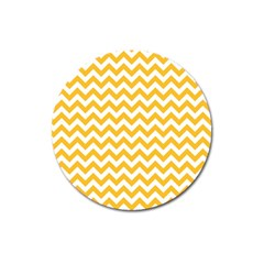 Sunny Yellow And White Zigzag Pattern Magnet 3  (Round)