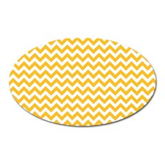 Sunny Yellow And White Zigzag Pattern Magnet (Oval)