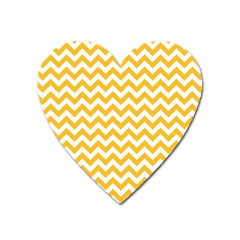 Sunny Yellow And White Zigzag Pattern Magnet (Heart)