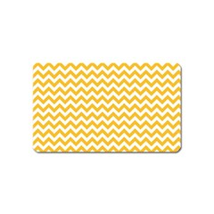 Sunny Yellow And White Zigzag Pattern Magnet (name Card)
