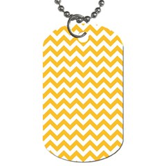 Sunny Yellow And White Zigzag Pattern Dog Tag (two Sided)