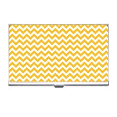 Sunny Yellow And White Zigzag Pattern Business Card Holder