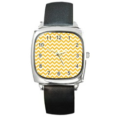 Sunny Yellow And White Zigzag Pattern Square Leather Watch
