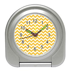 Sunny Yellow And White Zigzag Pattern Desk Alarm Clock