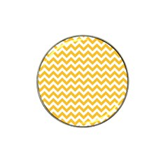 Sunny Yellow And White Zigzag Pattern Golf Ball Marker 4 Pack (for Hat Clip)