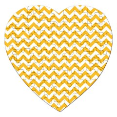 Sunny Yellow And White Zigzag Pattern Jigsaw Puzzle (heart)