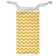 Sunny Yellow And White Zigzag Pattern Jewelry Bag
