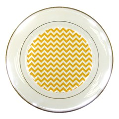 Sunny Yellow And White Zigzag Pattern Porcelain Display Plate