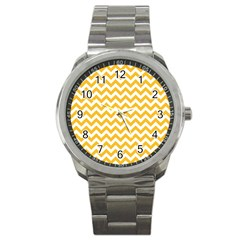 Sunny Yellow And White Zigzag Pattern Sport Metal Watch