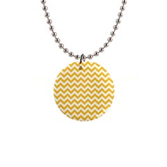 Sunny Yellow And White Zigzag Pattern Button Necklace